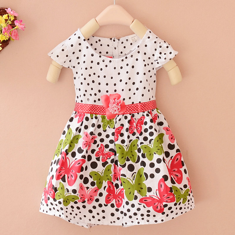 Fashion Baby Girls Kids Dress Polka Dots Butterfly Princess One-piece Dress xmas red white polka dots one piece petti dress kelly green posh feather