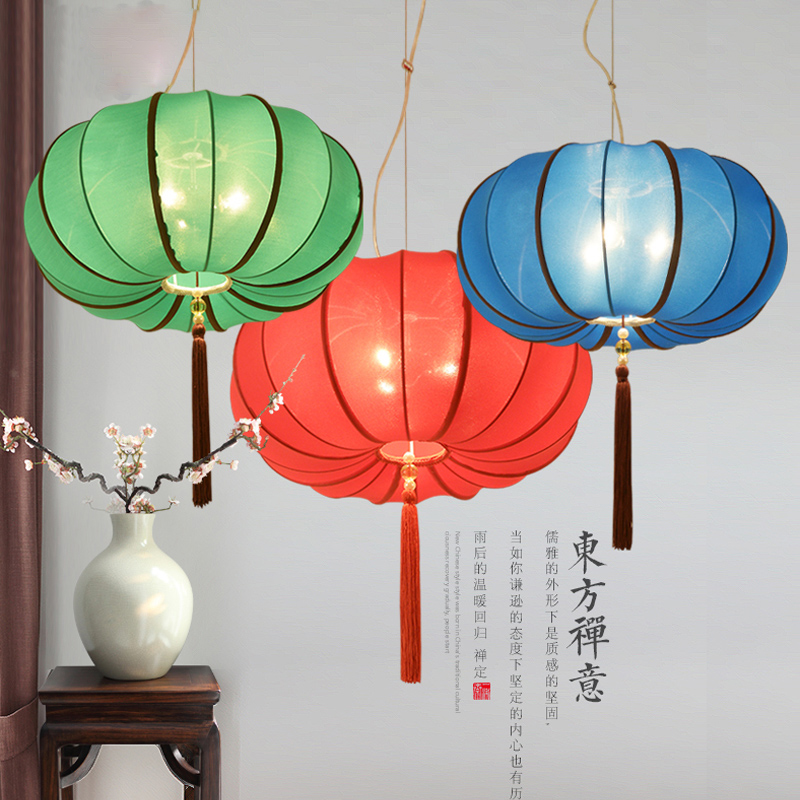 Chinese Style Cloth Lantern Pendant Lamps Lanterns Classical Restaurant Floor Project Lighting ZA ZL509