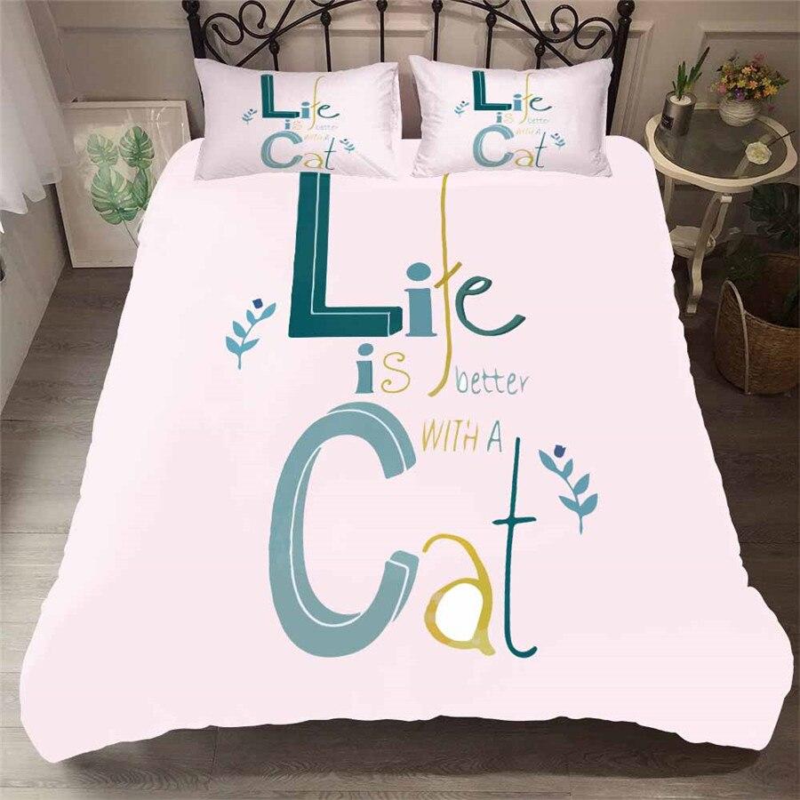 HELENGILI 3D Bedding Set Cat Print Duvet Cover Set Bedcloth With Pillowcase Bed Set Home Textiles #WM-10