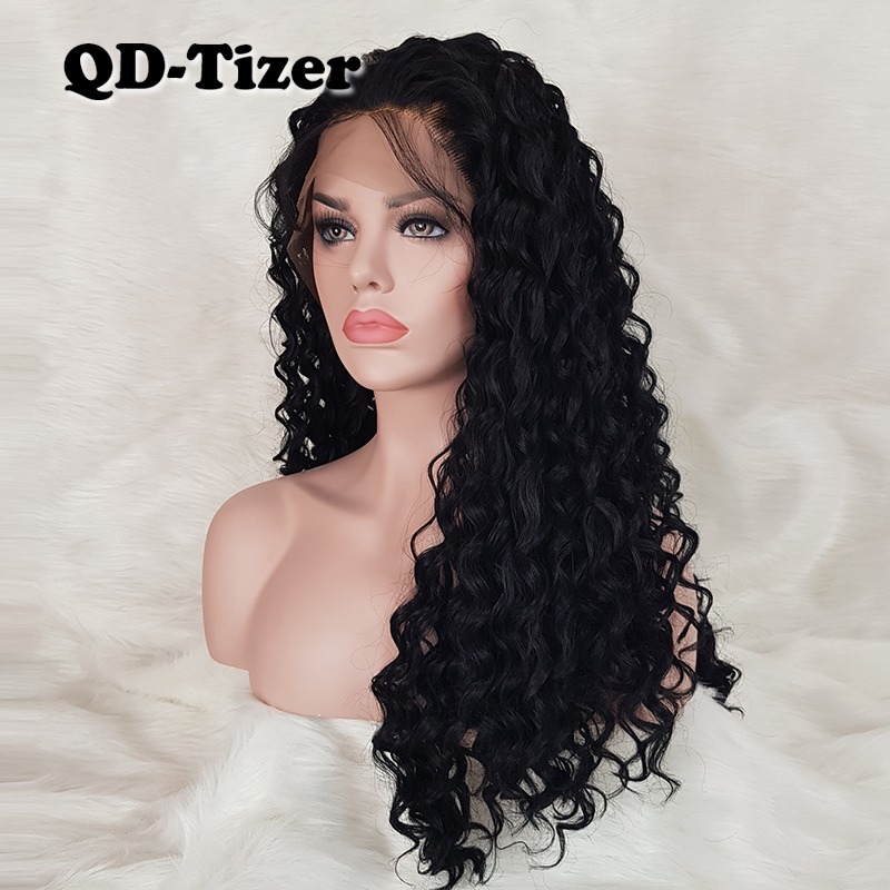 QD-Tizer Hair Kinky Curly Lace Front Wigs Synthetic Black Color Lace Hair Glueless Loose Curl Synthetic Lace Front Wig for Women