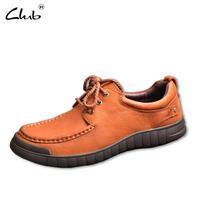 Club Brand Genuine Leather Men Casual Shoes Luxury Flat Fashion Designer Breathable Men Shoes Casual Male