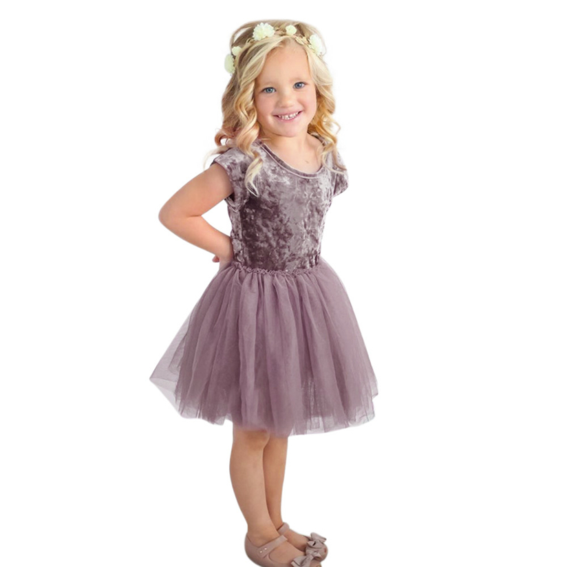 Toddler Infant Baby Girls Dress Solid Pleuche Tutu Tulle Dresses Outfits Clothes baby i bambini dreess kochanie dzieci dreess #2