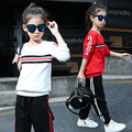 Girls Sports Suits Cotton Kids Clothing Sets For Sportswear Striped Children Tracksuits Autumn Kids Outfits 4 6 8 10 12 14 year