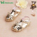 Baby Girl Sandals Gold Sliver Pink Soft Bottom Bright PU Leather Kids Shoes Chaussure Enfant Girl Toddler Shoes Cute Bowtie