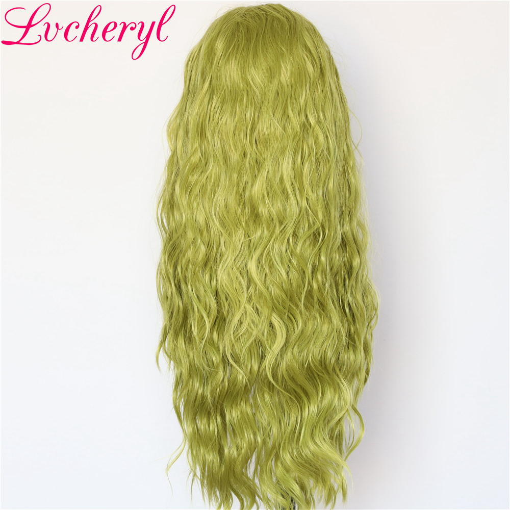Image 3 - Lvcheryl Hand Tied New Green Color Full Density Water Wave Hair wigs Heat Resistant Hair Wigs Synthetic Lace Front Wigs-in Synthetic None-Lace  Wigs from Hair Extensions & Wigs