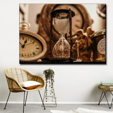 Canvas HD Print Retro Classic Painting Modern Home Decorative Wall Artwork 1 Piece Type Style Funnel And Clock Poster