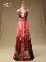 Solovedress Elegant Halter Floor Length Real Photos Krystal A Line Evening Dress Pleat Evening Gown Vestidos