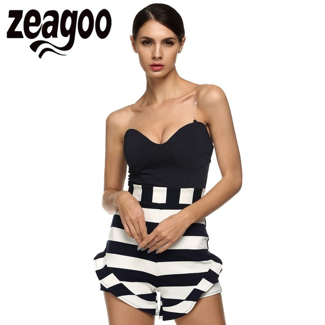 Zeagoo Summer Sexy Off Shoulder Romper Women Jumpsuit Tops Elastic Slim Short Bodysuit Striped High Waist Short Jumpsuit