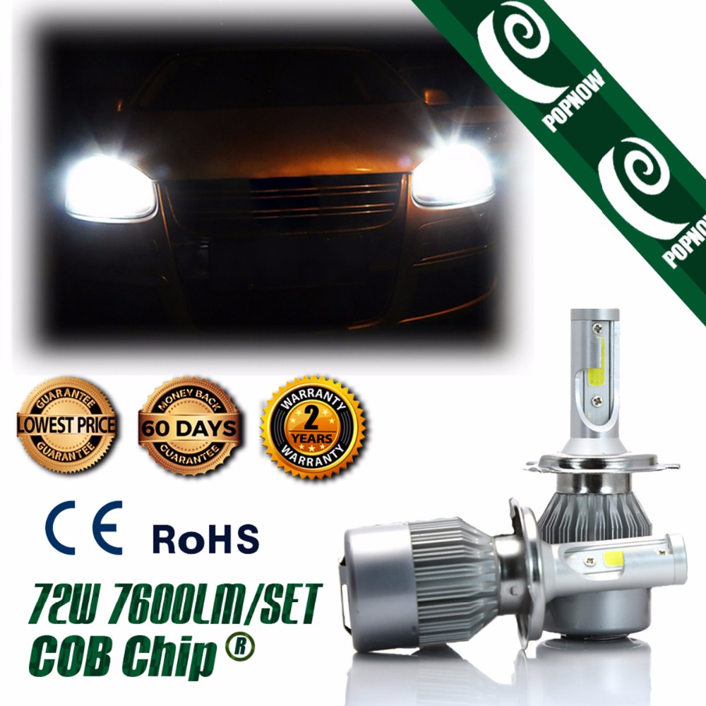 Popnow h4 hb2 car cob led headlight bulb high power hi lo beam white 6000k