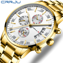CRRJU Fashion Men Watches Analog Quartz Wristwatches 30M Waterproof Chronograph Sport Date Stainless Steel Watches montre homme все цены