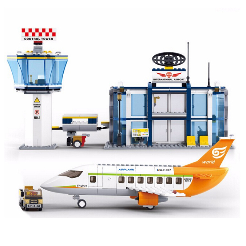 Sluban Model building kits compatible with lego city plane Airport 845 3D blocks Educational toys hobbies for children new phoenix 11207 b777 300er pk gii 1 400 skyteam aviation indonesia commercial jetliners plane model hobby