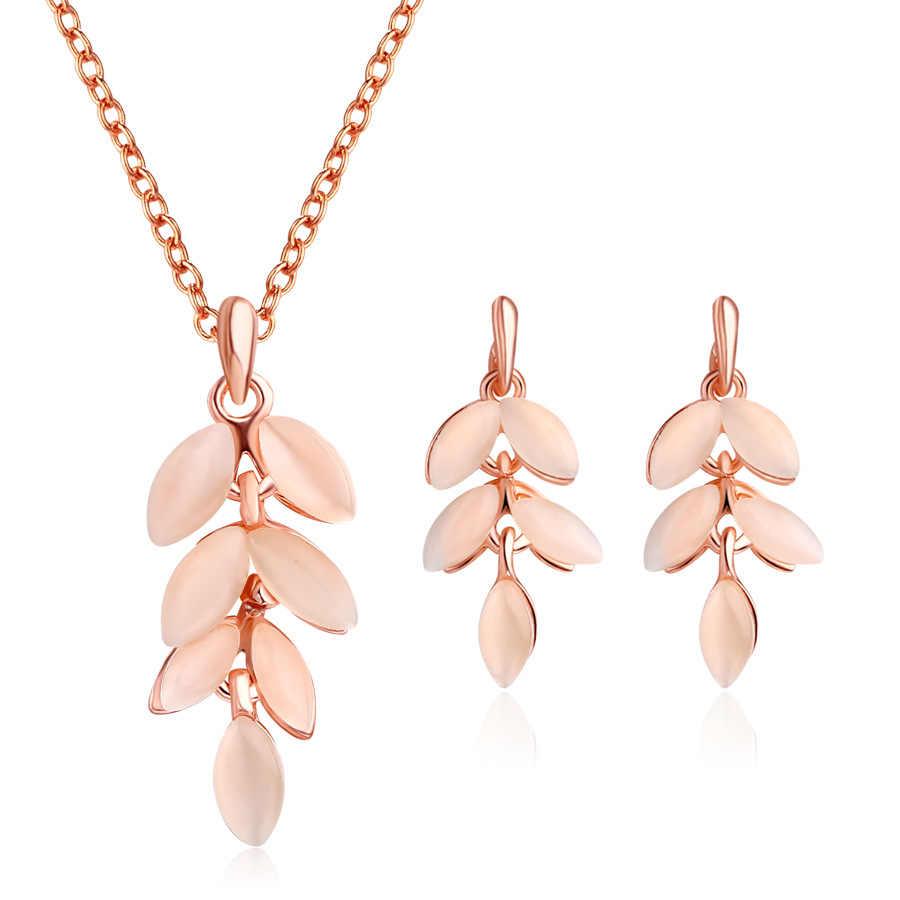 Pendant Necklace sets For Woman Jewelry Sets Opal Women Choker Water Drop Earrings Rose Gold Color Boho Bride Jewelry Set bijoux