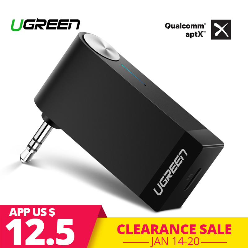Ugreen receptor Bluetooth 4,2 inalámbrico Bluetooth receptor de Audio de 3,5mm Aux del coche adaptador Bluetooth Altavoz manos libres