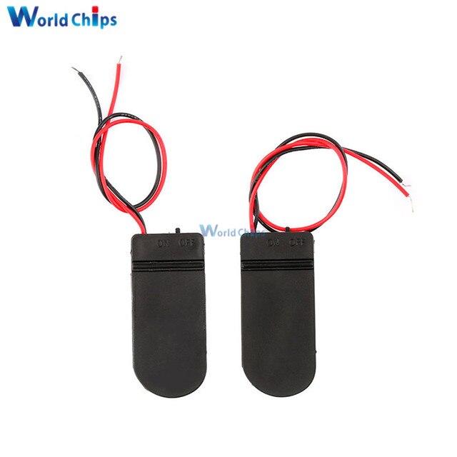 Caja de 5 uds soporte de batería botón CR2032 pila de moneda 6V interruptor de encendido/apagado de plomo nuevo