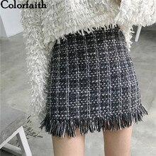 Colorfaith 2018 Women Woolen Mini Skirt Autumn Winter Vintage Straight Plaid Tassel Skater Skirt High Waist Femininas SK5583