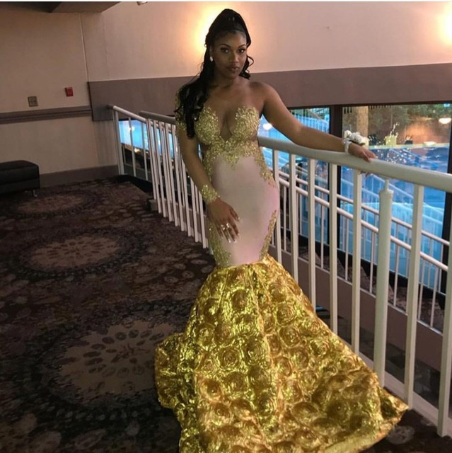 Sexy African Mermaid One Shoulder Yellow Prom Dresses 2019 Sheer Sleeves Beaded Appliques Women Long Formal Party Gowns