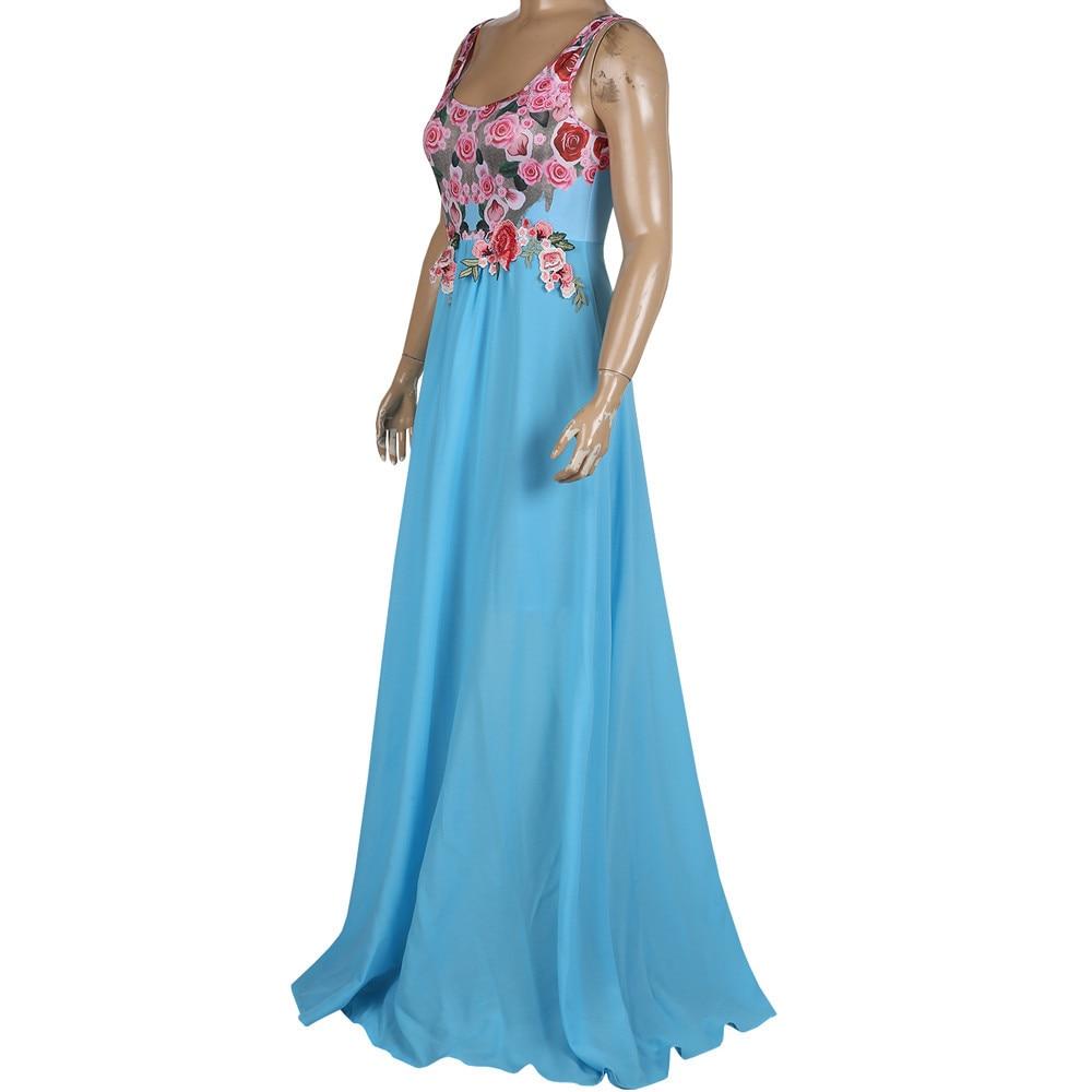 Summer Lace Applique O Neck Elegant Maxi Dress Women Sexy Dresses Sleeveless Floral Print Party Dress Vestidos Sukienki Feminino 2