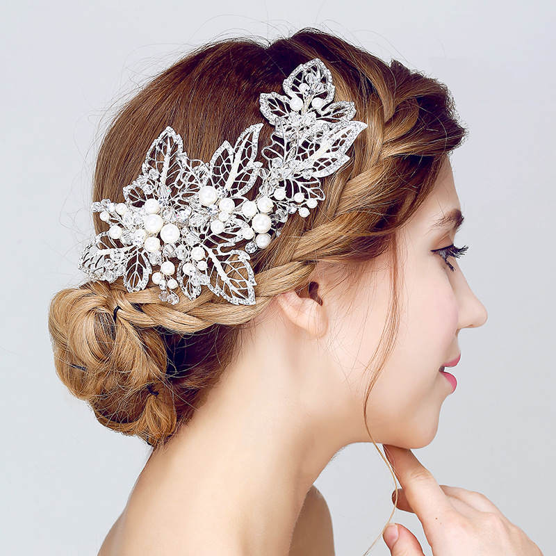 Gorgeous pearl hair combs floral bridal headbands women pearls jewelry hairband hair ornaments bride tiaras wedding accessories red gorgeous ancient chinese wedding hair tiaras for bride and groom or no 1 scholar officer hat