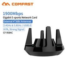 Comfast CF 958AC 고전력 PA Wifi 어댑터 1900Mbps 기가비트 전자 스포츠 네트워크 카드 2.4Ghz + 5.8Ghz USB 3.0 PC Lan 동글 수신기