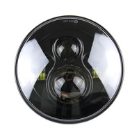 Black 7 Round Harley LED Projection Daymaker Headlight For Motorcycles Royal Enfield, Harley Davidson Glide street