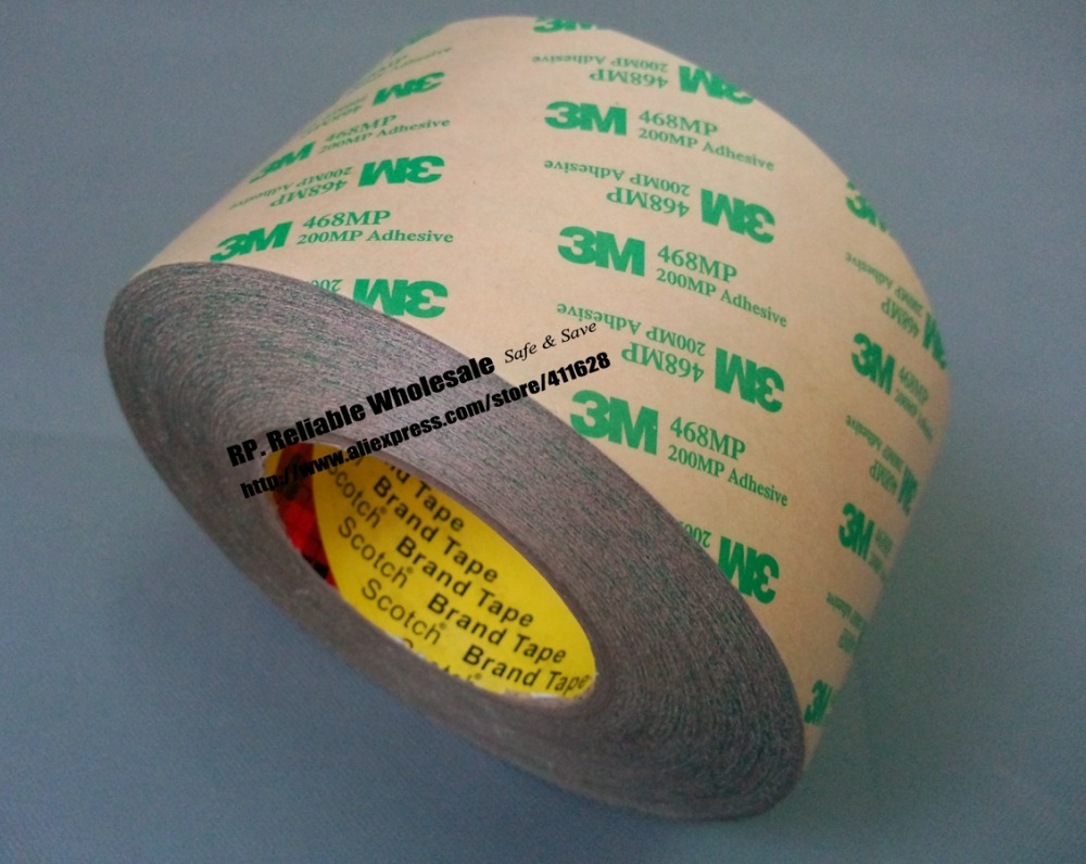 (38mm*55M*0.13mm) 3M 468MP 200MP Double Sided Pure Adhesive Film Tape, High Temperature Withstand for Automotive Appliance 3m 468mp 43mm 55m 0 13mm double sided adhesive tape 200mp metals paints wood bonding together for automotive appliance
