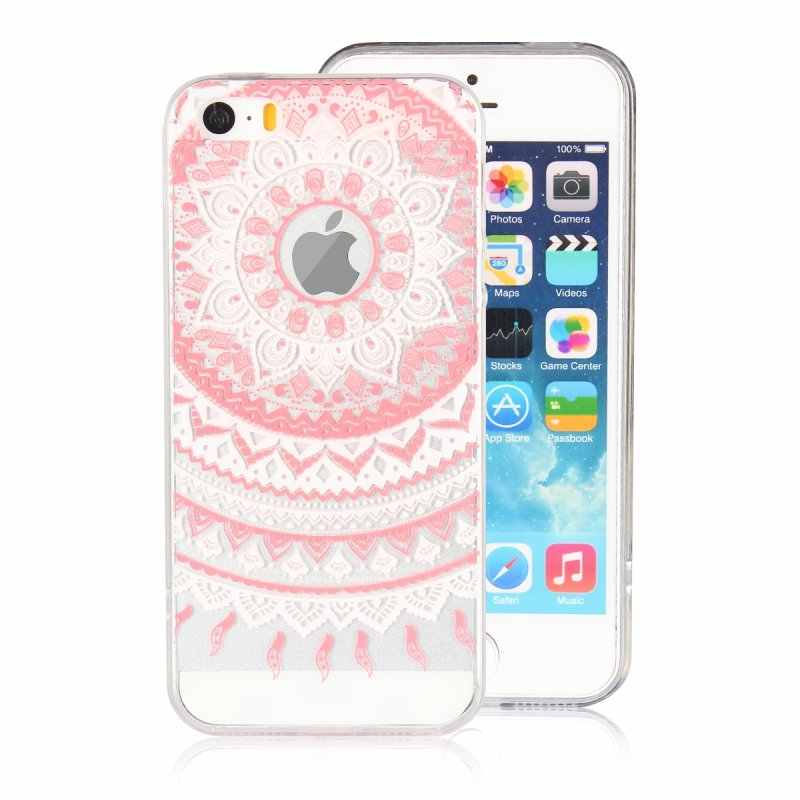 d4cac91c387 ... For iPhone 5s 5 SE Cases Cover Soft Silicone Clear Mandala Flower Gel  Coque Etui For ...