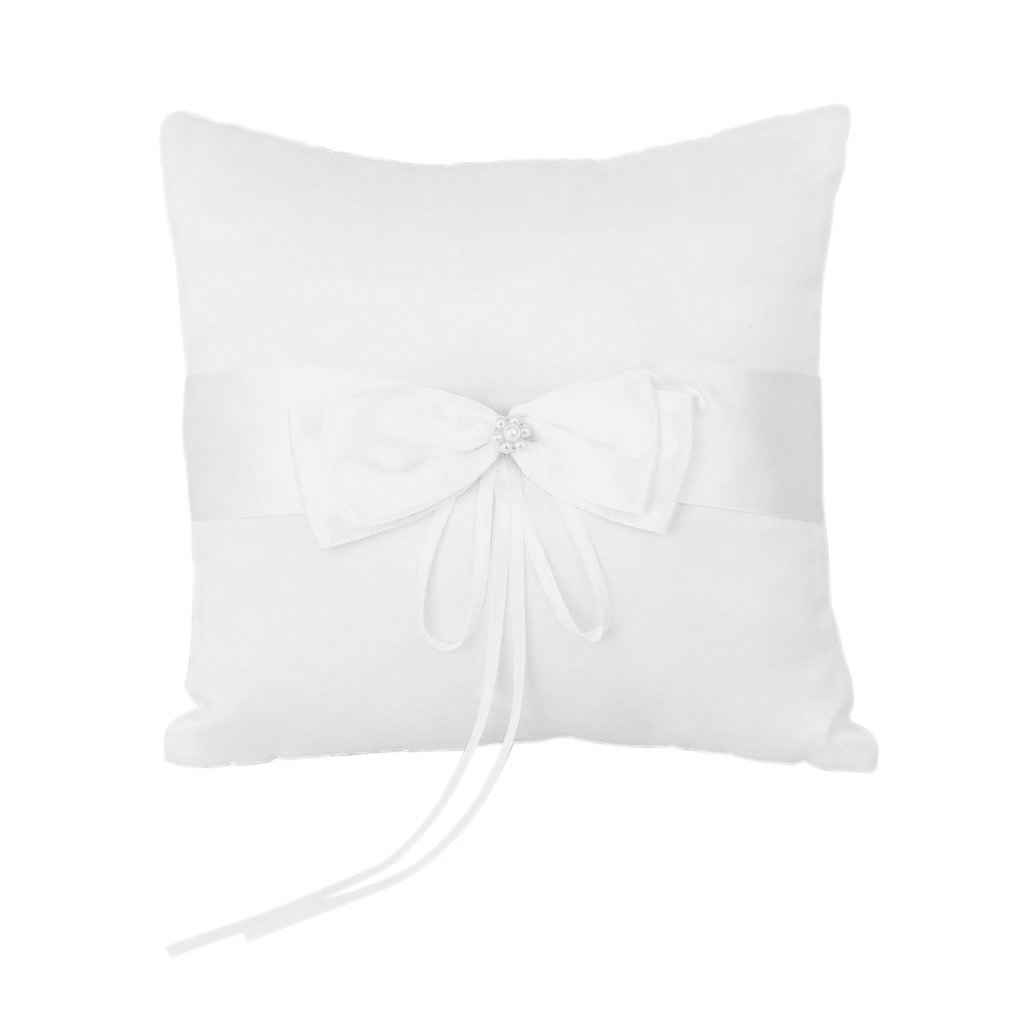 Ivory Faux Pearl Flower Wedding Party Pocket Ring Pillow Cushion 4'' X 4''