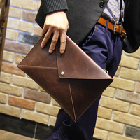 Brown horsehide grain PU leather men travel small handbag or retro day clutch envelope messenger bag free shipping high quality