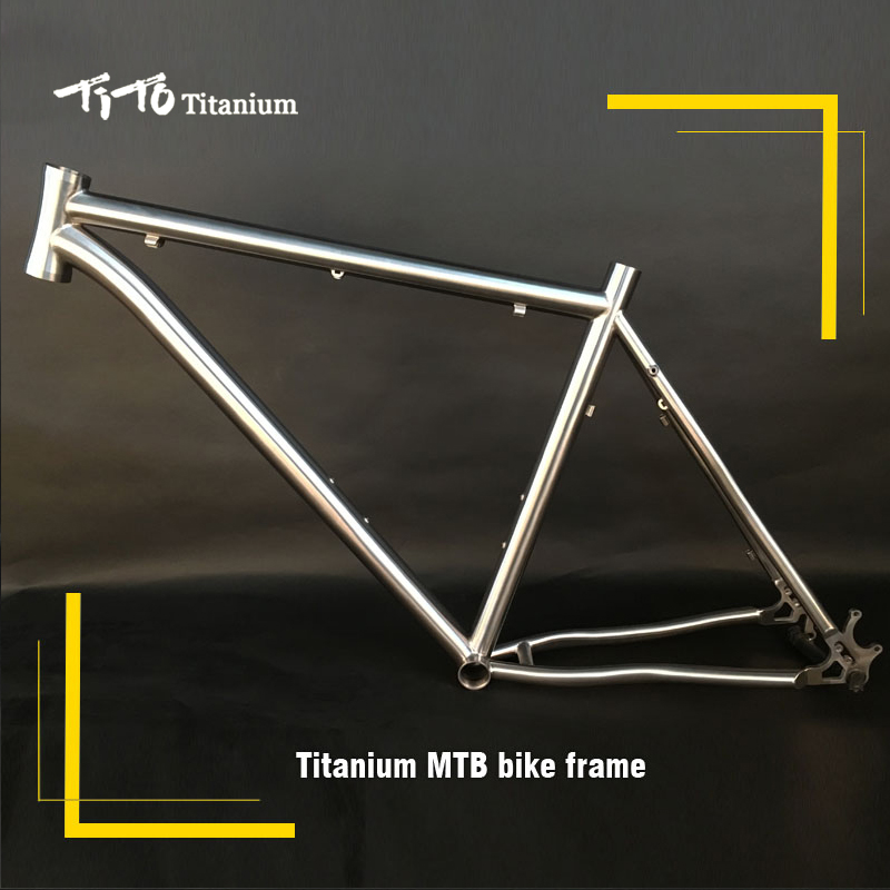 FREE SHIPPING !!! TiTo Titanium MTB bike frame 26``27.5``29``ONE -PIECE tail hook and bent down tube 44 head tube bicycle free shipping tito titanium mountain bike mtb frame 26 27 5 29er simi circle a tail hook 34 head tube