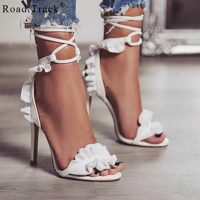 c38fbb02c13 Road Track Gladiator Sandals Women High Heels Sexy Party Shoes Ankle Strap  Ruffles Thin Heel Ladies …