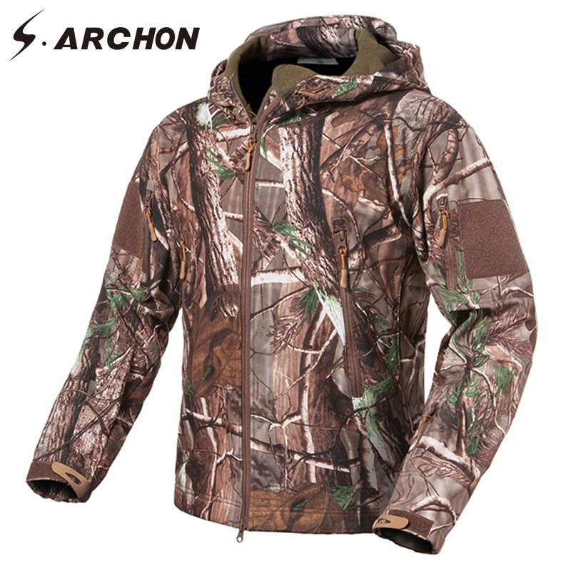 S.ARCHON Soft Shell Tactical Fleece Jackets Men Warm Military Camouflage Outerwear Hooded Waterproof Jackets Coat Army Clothing lurker shark skin soft shell v4 military tactical jacket men waterproof windproof warm coat camouflage hooded camo army clothing