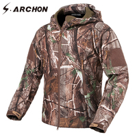 S.ARCHON Soft Shell Tactical Fleece Jackets Men Warm Military Camouflage Outerwear Hooded Waterproof Jackets Coat Army Clothing