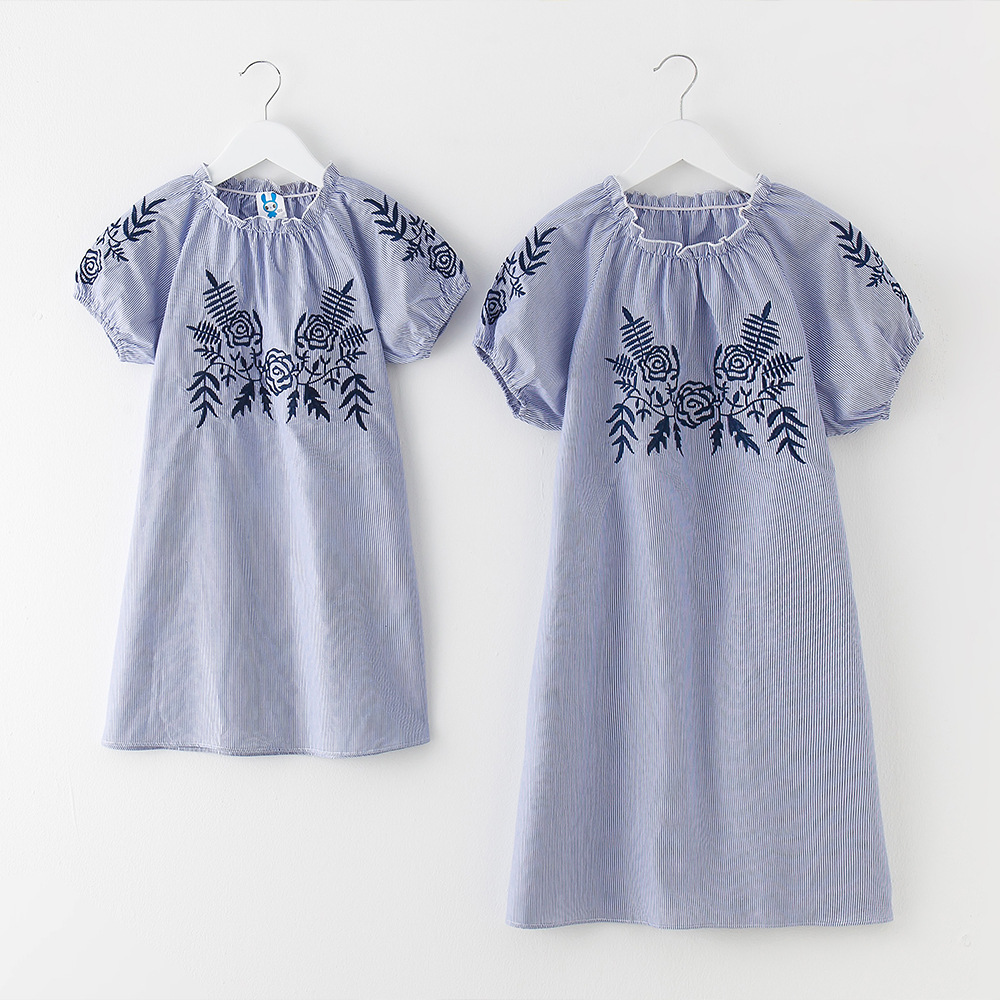 Mom Daughter Bohemian Maxi Gown Household Matching Outfits 2018 New Summer time Mother Me Striped Embroidery Gown Household Fitted CC692 Matching Household Outfits, Low-cost Matching Household Outfits, Mom Daughter...