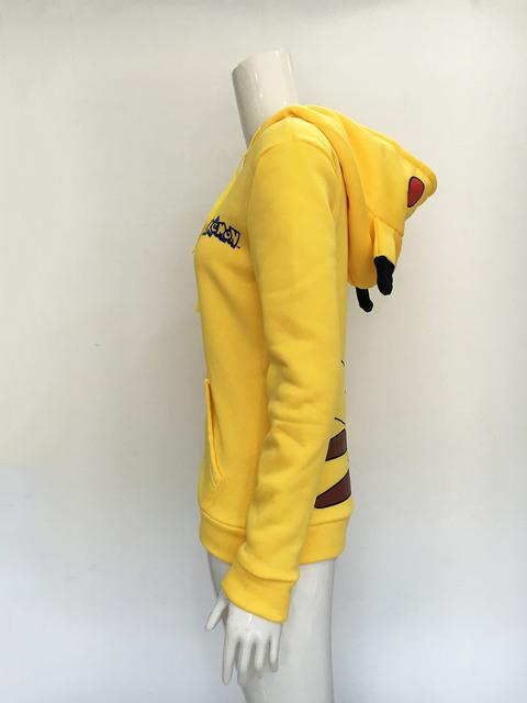 Kawaii Women Hoodie Sweatshirt Pokemon Go Hoodies Sweatshirt Casual Pikachu Hoodie Jacket Coat Sweatshirt Animal Costume