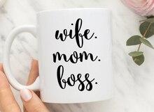 Esposa Mamá Jefe tazas de café hogar té calcomanía arte Lavavajillas y Microondas cerveza mugen