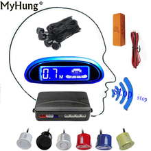 Car LED Parking Sensor With 4 Sensors Cars Blue Screen Reverse Assistance Radar Monitor System Styling