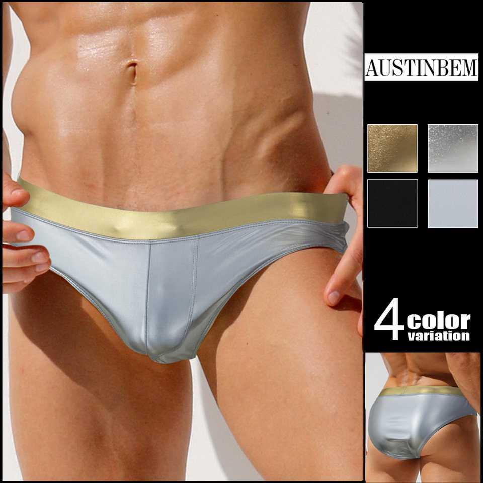 c2258eff2d Austinbem Swimsuits Men Sunga Zwembroek Heren Metallic Gold Print Belt Swimsuit  Mens Swim Briefs Sungas De