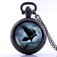 Steampunk Raven Necklace For Women 2016 Gothic Crow Pocket Watch Necklace Bird Pendant