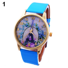 New! Sizzling New Costume Design Ladies's Geneva Costume Rose Flower Eiffel Tower Fake Leather-based Analog Quartz Wrist Watch
