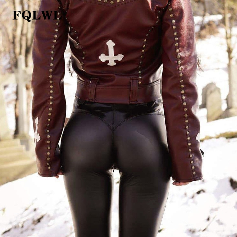 FQLWL Punk Bodycon Faux Pu Leather Pants Women Push Up Black High Waist Pants Female Autumn Winter Trousers Women Sexy Pants 9