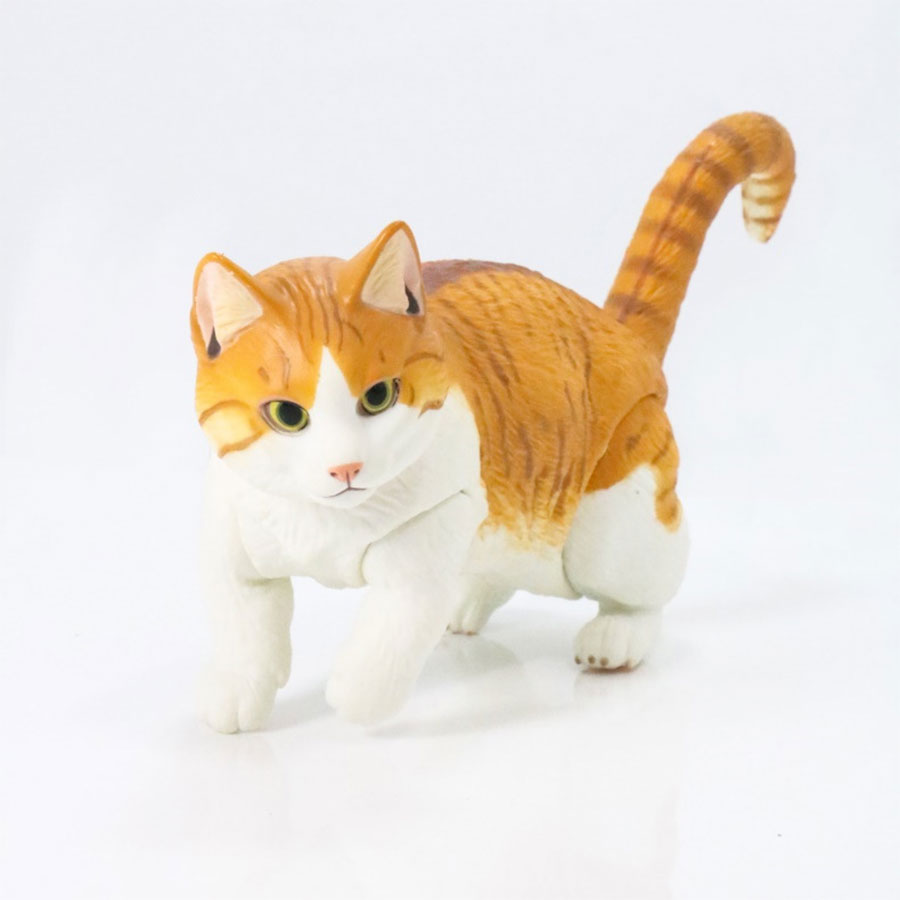 Yamaguchi Animal Figure Tabby Cat White Cat PVC Action Figure Joint Movable Short-legged Cat Collection Model Toys Kids Gift