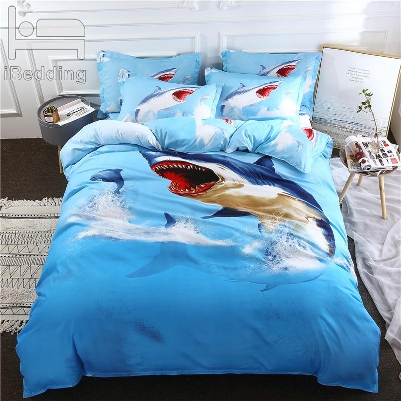 3D Sea Shark Bedding Set 3PC Duvet Cover Set Children Adult~Twin//Full//Queen//King