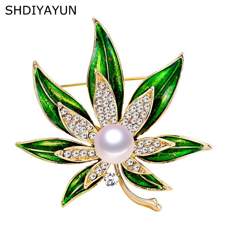 SHDIYAYUN 2019 New Leaf Brooch Natural Freshwater Pearl Brooch Simple Enamel Pins For Women Wedding Jewelry Women's Accessories