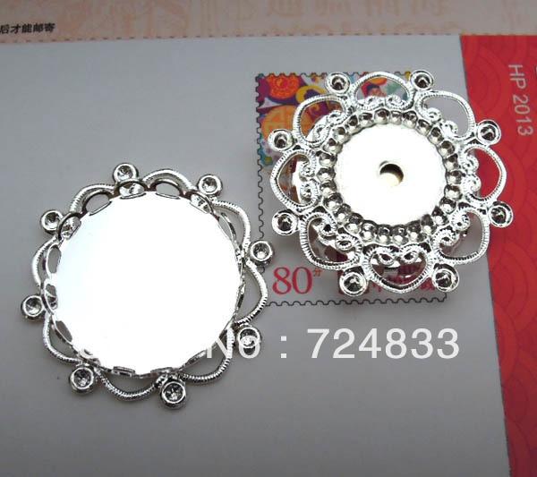 20 мм подвесные соединители филигранные основания цветок круглый кружевной ободок Лотки Кулон Настройки камеи посеребренный металлический пустой опт