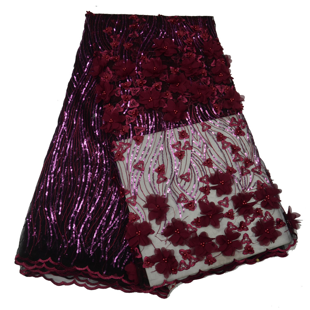 Wine red Availabel Luxury African Embroidery 3D Floral Beaded Pearls Tulle Lace Fabric With sequins H248 1