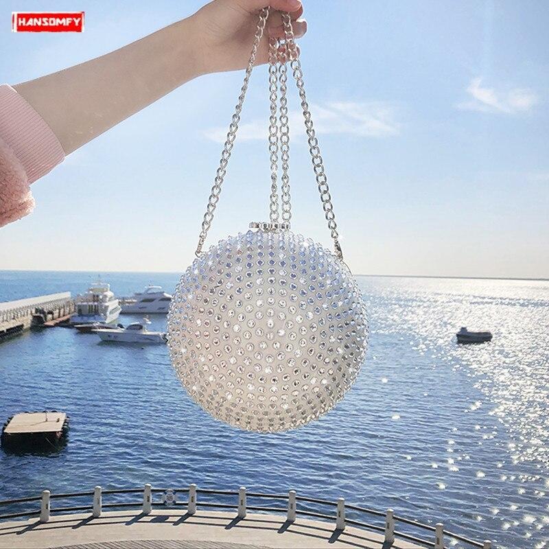 Balle 2019 Nouvelle Messenger Rond Cristal Femelle Épaule Bracelet Pack Chaîne Diamant Blanc Full Sac Femmes Dîner Perle Mode De wARAqI