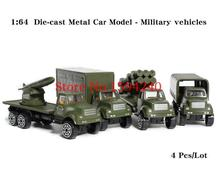Toys for children 1:64 metal with plastic Military vehicles cars model 4pcs/lot best gift for children