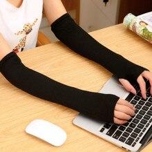 Зимние теплые перчатки для рук с подогревом, 1 пара, женские перчатки без пальцев, вязаные теплые перчатки на половину пальцев, длинные митенки O10 OC4