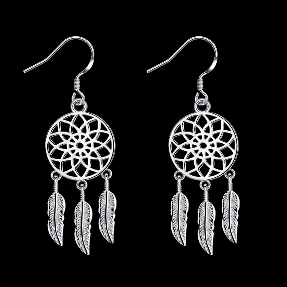 925 Sterling Silver Dream Catcher Feather Tassels Drop Earrings For Women  Girl Gift Dreamcatcher Earrings Fashion