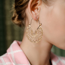 Exaggerated ethnic hollow dangle drop earrings Women golden engraving flowers Wedding big Earrings Hanging Jewelry Accessories